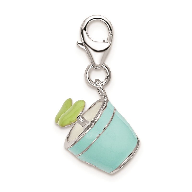Quality Gold Sterling Silver RH w/Lobster Clasp 3-D Enameled Potted Plant Charm