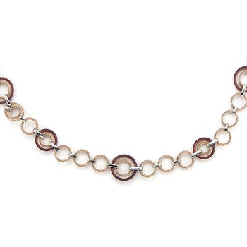 Carnation & Burgundy Cable Interlock Necklace