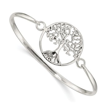 Sterling Silver Tree of Life Slip-On Bangle