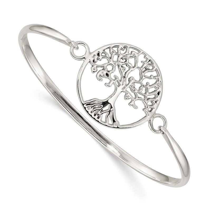 Quality Gold Sterling Silver Tree of Life Slip-On Bangle