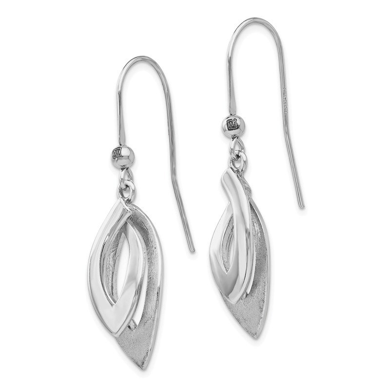 Leslie's Leslie's Sterling Silver Polished and Brushed Shepherd Hook Earrings