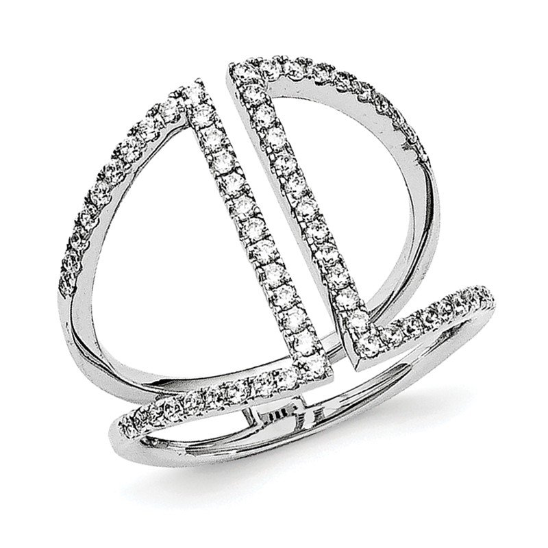 Quality Gold Sterling Silver Rhodium-plated polished CZ Ring