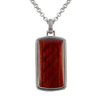 Red Tiger Eye Dog Tag Pendant