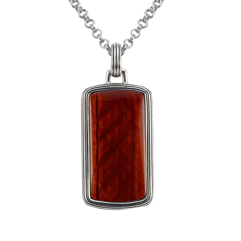 SDC Creations Red Tiger Eye Dog Tag Pendant