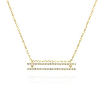 Two Row Diamond Line Necklace Set in 14 Kt. Gold