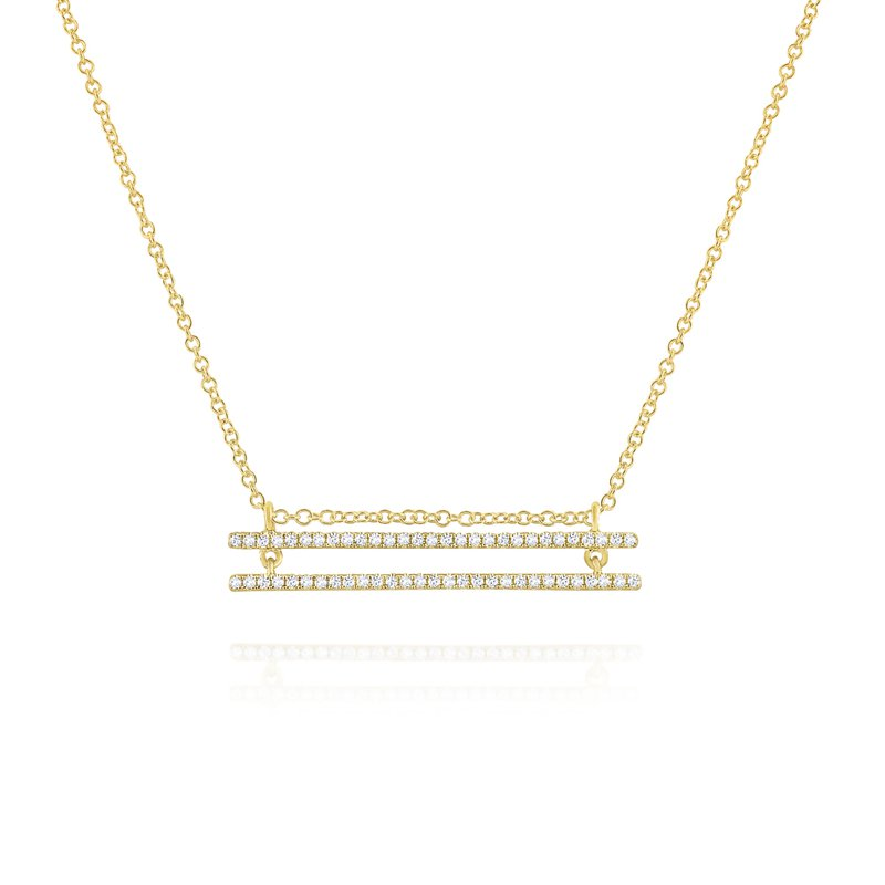MAZZARESE Fashion Two Row Diamond Line Necklace Set in 14 Kt. Gold