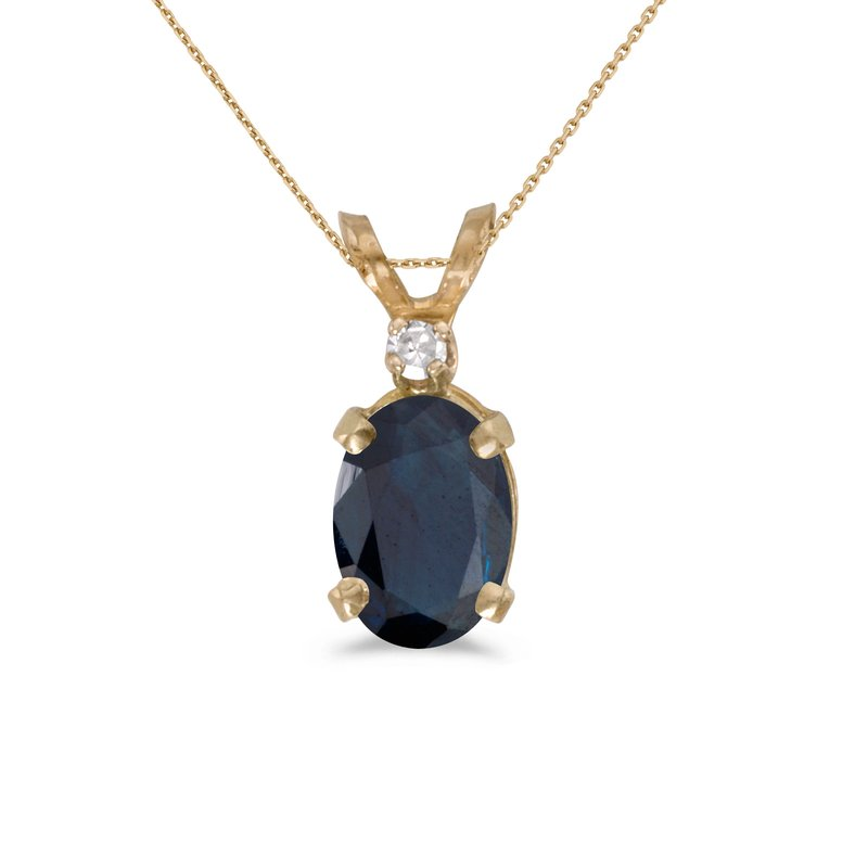Color Merchants 14k Yellow Gold Oval Sapphire And Diamond Pendant