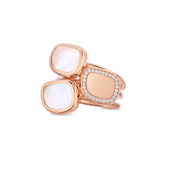 Ring With Mother Of Pearl And Diamonds