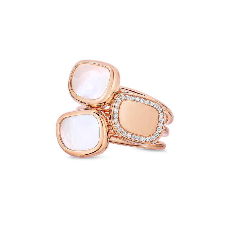 Roberto Coin 18Kt Gold Ring With Diamonds And Mother Of Pearl