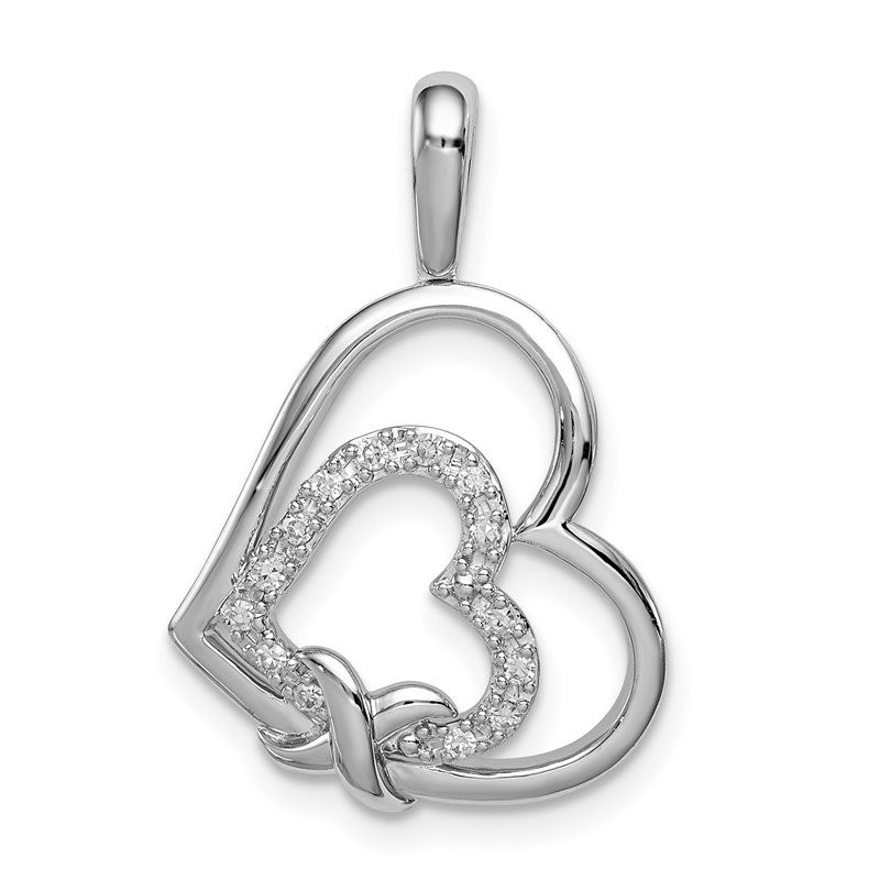 Arizona Diamond Center Collection Sterling Silver Rhodium Diam. Hearts Pendant