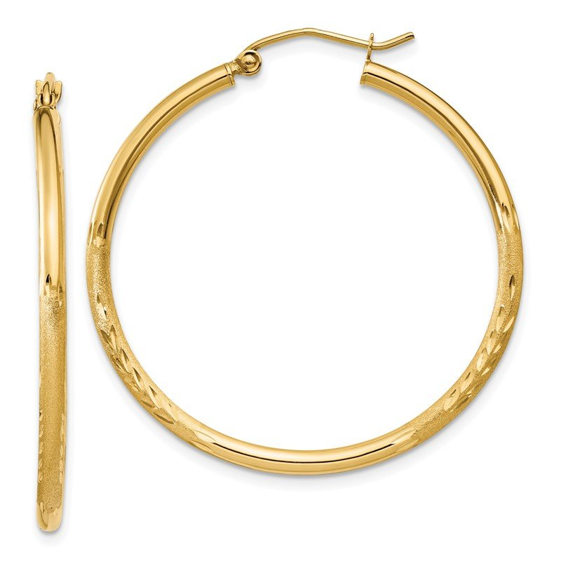 Quality Gold 14k Satin and Diamond-cut 2mm Round Tube Hoop Earrings