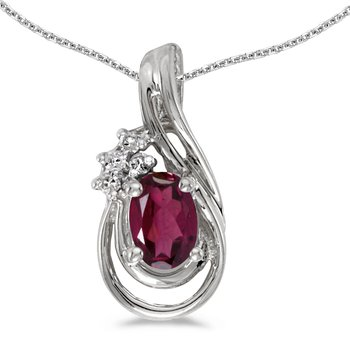 10k White Gold Oval Rhodolite Garnet And Diamond Teardrop Pendant