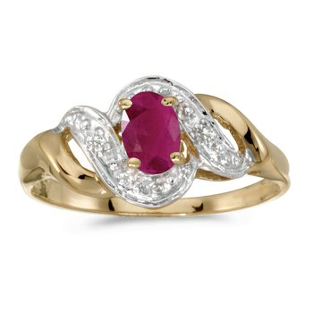 14k Yellow Gold Oval Ruby And Diamond Swirl Ring