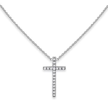 Diamond Cross Necklace in 14k White Gold with 18 Diamonds weighing .07ct tw.