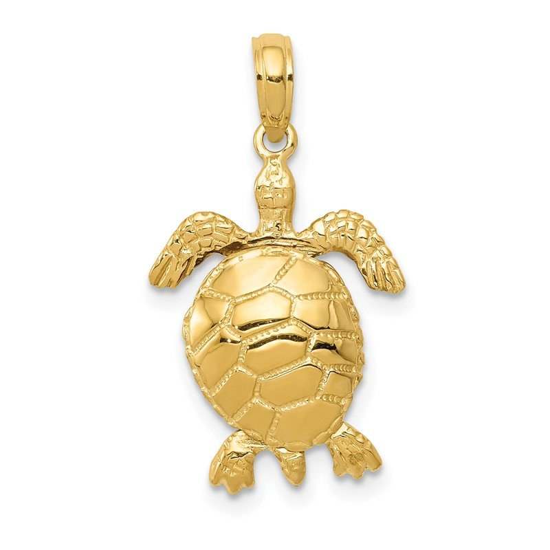 J.F. Kruse Signature Collection 14K Solid Polished 3-D Moveable Turtle Pendant