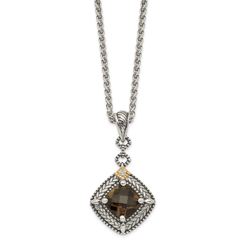 Sterling Silver w/ 14K Accent Green Quartz & Diamond Dangle Pendant