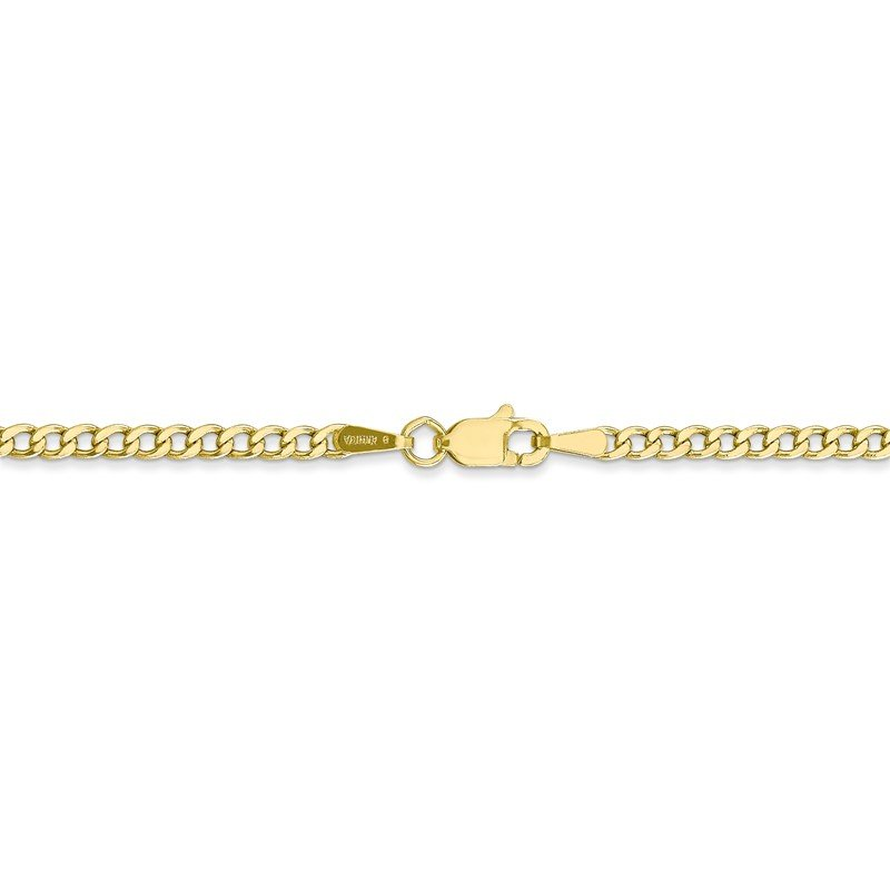 Quality Gold 10k 2.5mm Semi-Solid Curb Link Chain Anklet