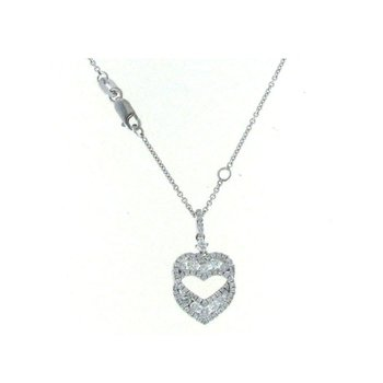 18KT WHITE GOLD DIAMOND HEART NECKLACE