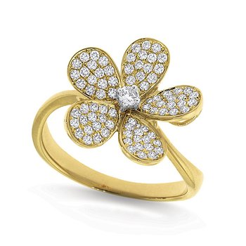 Diamond Large Floral Ring in 14k Yellow Gold with 81 Diamonds weighing .46ct tw.