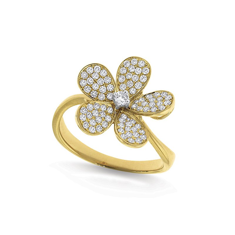 KC Designs Diamond Large Floral Ring in 14k Yellow Gold with 81 Diamonds weighing .46ct tw.