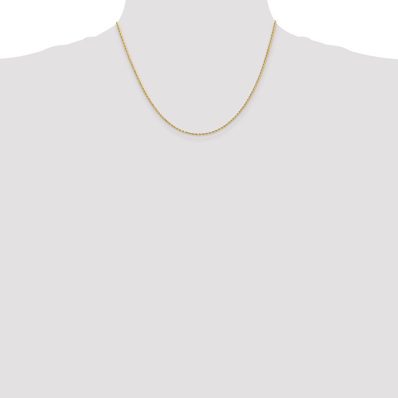 Quality Gold 14k 1.50mm Diamond-cut Rope Chain Anklet