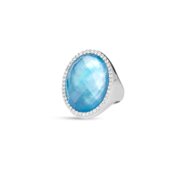 Ring With Diamonds, Topaz And Mother Of Pearl