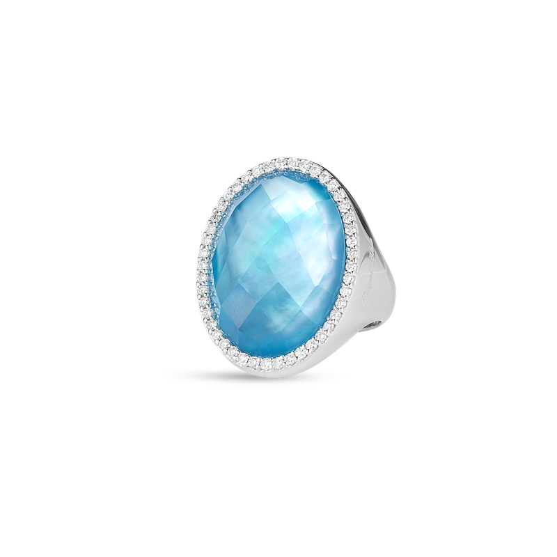 Roberto Coin Ring With Diamonds, Topaz And Mother Of Pearl