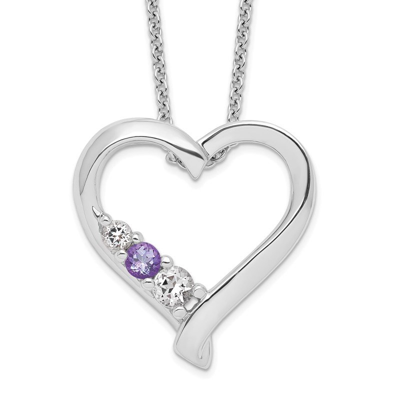 Quality Gold Sterling Silver Survivor Clear & Purple Swarovski Topaz Jessica Necklace