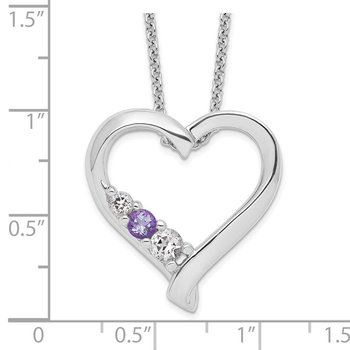 Sterling Silver Survivor Clear & Purple Swarovski Topaz Jessica Necklace