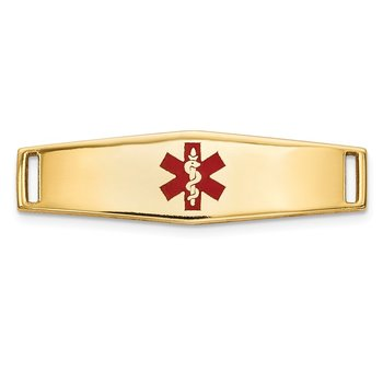 14K Epoxy Enameled Medical ID Ctr Soft Diamond Shape Plate # 816