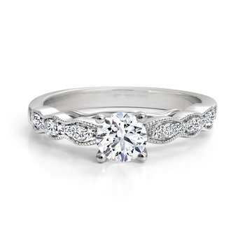 Solitaire Engagement Ring with Diamond Details