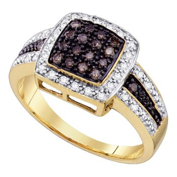 10kt Yellow Gold Womens Round Brown Color Enhanced Diamond Cluster Ring 1/2 Cttw - Size 9