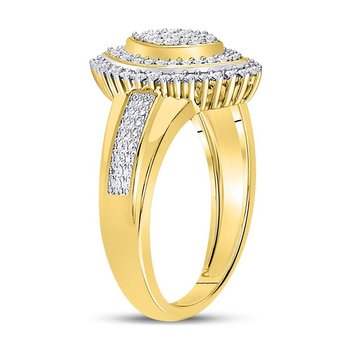 10kt Yellow Gold Womens Round Diamond Marquise-shape Cluster Ring 1/4 Cttw