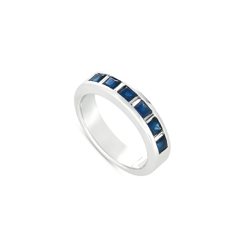 S. Kashi  & Sons Sapphire & Dia White Gold Ring