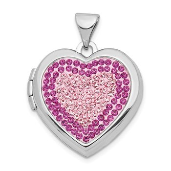 Sterling Silver Rhodium-plated 18mm Preciosa Crystal Heart Locket