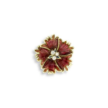 Red Sweetness Flower Pendant.18K -Diamond