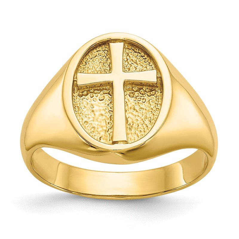 Quality Gold 14k Polished Eternal Life Cross Ring