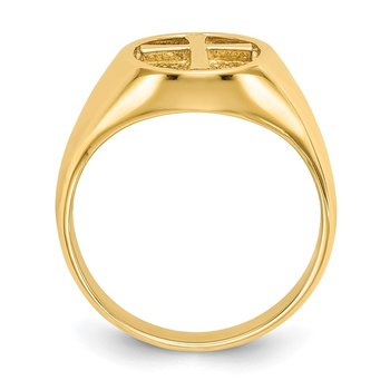 14k Polished Eternal Life Cross Ring