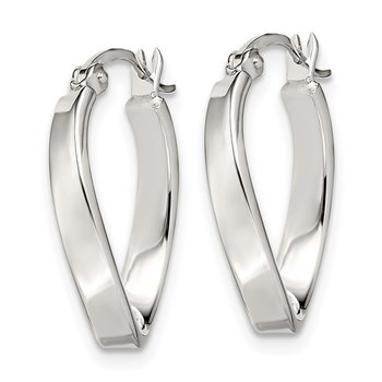 Sterling Silver Oval Hoop Earrings