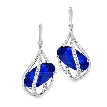 Blue Sapphire Earrings-CE4279WBS