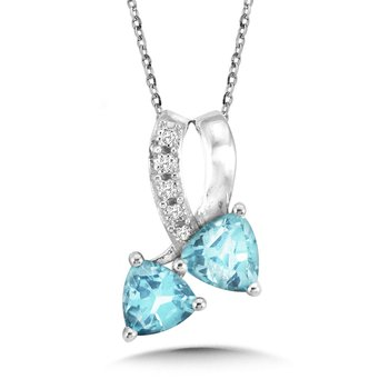 Trillion-Cut Blue Topaz and Diamond Bypass Pendant