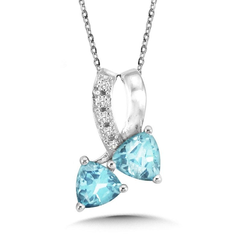SDC Creations Trillion-Cut Blue Topaz and Diamond Bypass Pendant