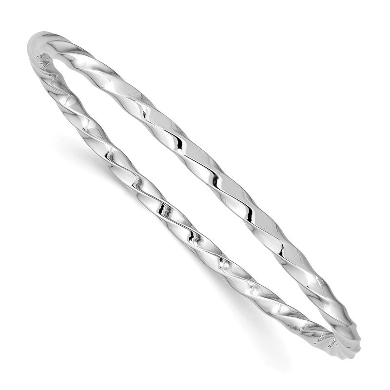 Quality Gold Sterling Silver Rhod. Plated Pol. Twisted Slip-on Child's Bangle