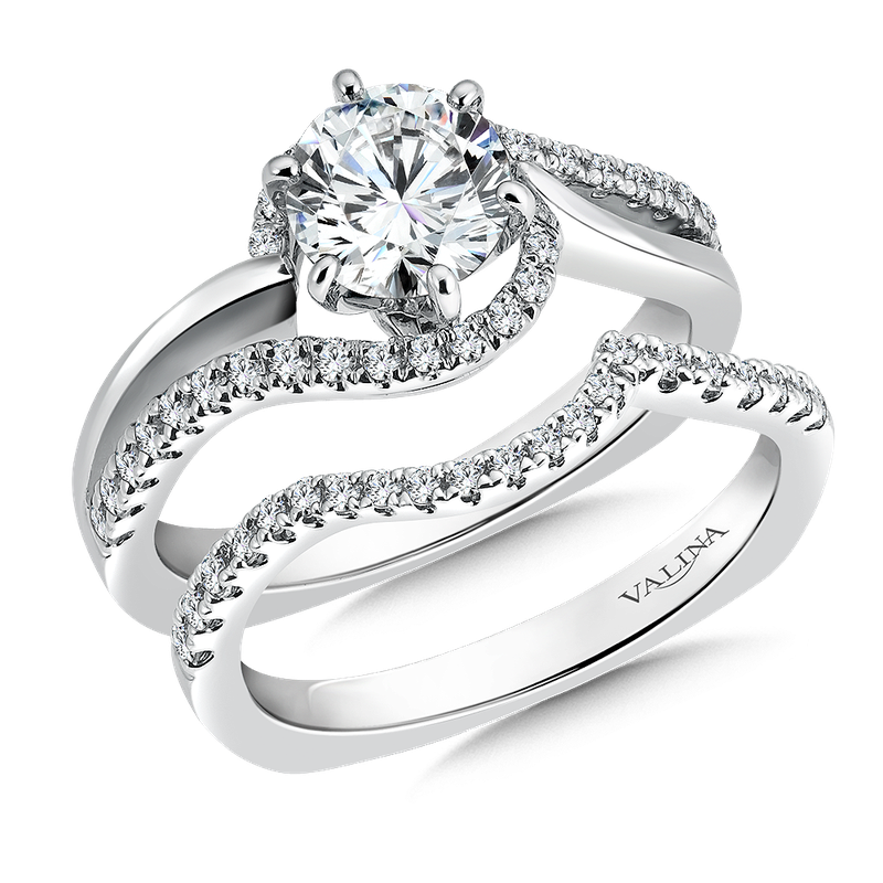 Valina Bridals Mounting with side stones .27 ct. tw., 1 ct. round center.