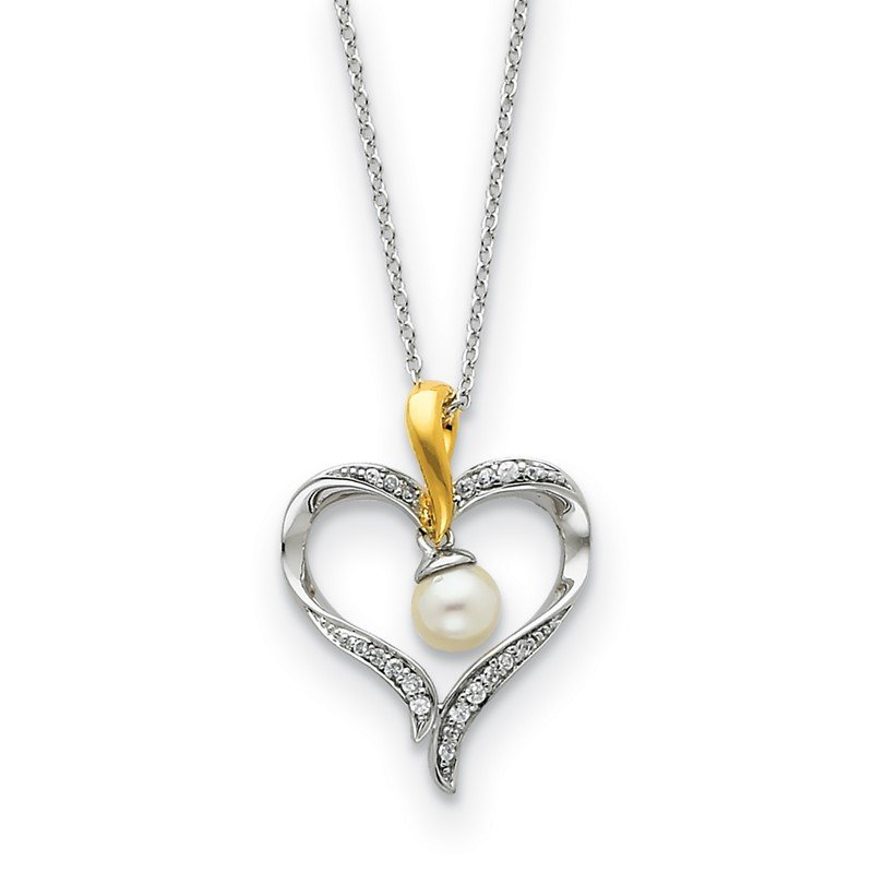 Arizona Diamond Center Collection Sterling Silver & Gold-plated FW Cultured Pearl Heart & Soul 18in Neck