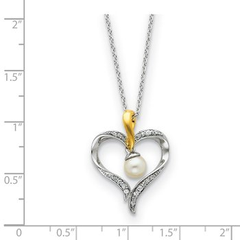 Sterling Silver & Gold-plated FW Cultured Pearl Heart & Soul 18in Neck