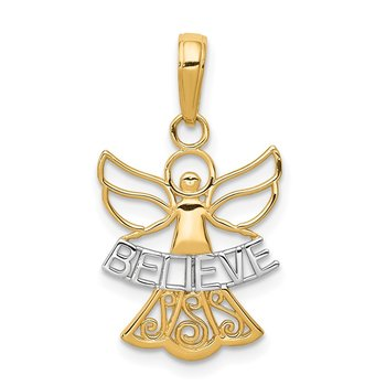 14K W/Rhodium BELIEVE Angel Pendant