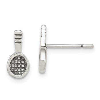 Sterling Silver Antique Tennis Racquet Post Earrings