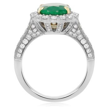 Prong Set Emerald Diamond Ring