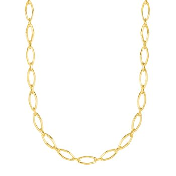 14K Yellow Gold Polished Marquise Link Chain